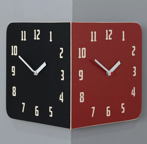 Morden Retro Round Corner Clock (Black&Red)